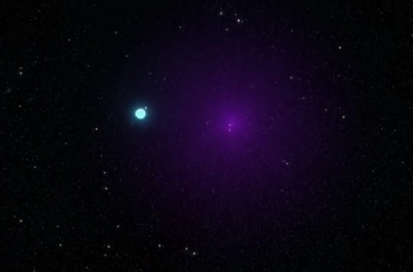 Cygnus X-1 (right) and its companion star (left)
